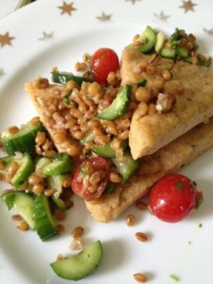 Polenta and Cucumber Wheatberry Salad